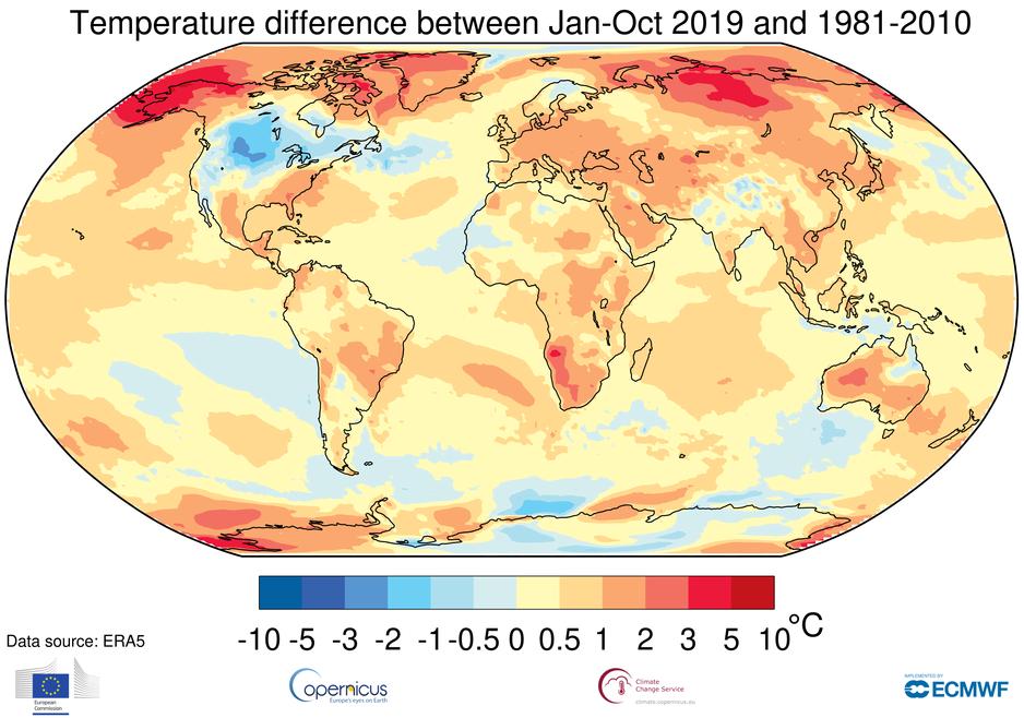 Temperaturne razlike na karti svijeta