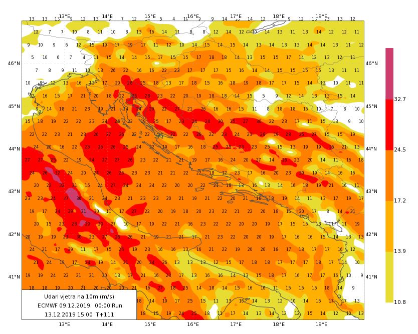 Karta prognoze vjetra