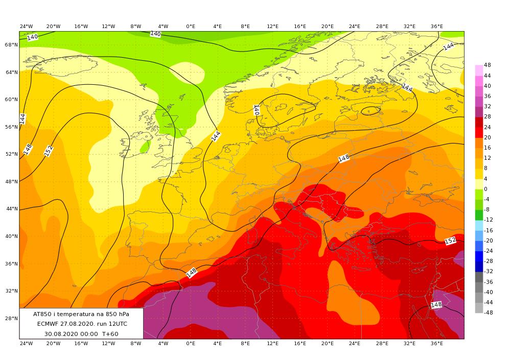 Temperatura i geopotencijal na 850 hPa